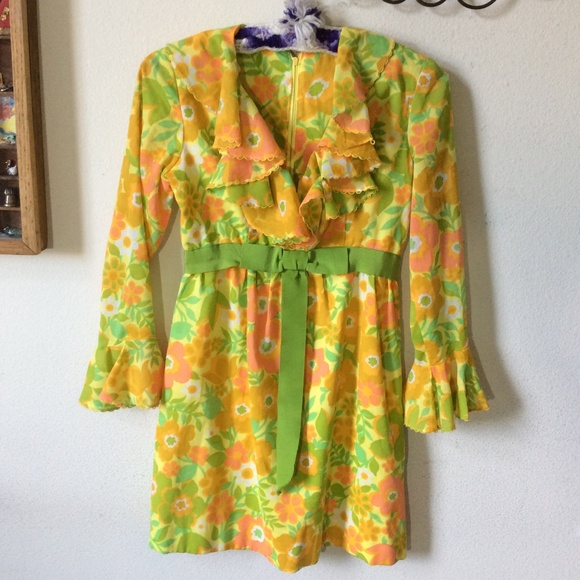 Vintage Dresses & Skirts - Vintage Neon Mod Hippie Flower Mini Dress Belle